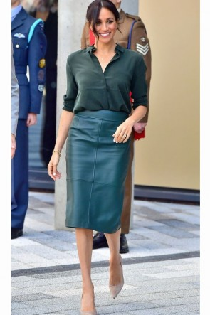 Meghan Markle Dark Green Two Pieces Dress With Long Sleeves 2019