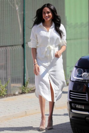 Meghan Markle Simple White Belt Shirtdress Johannesburg