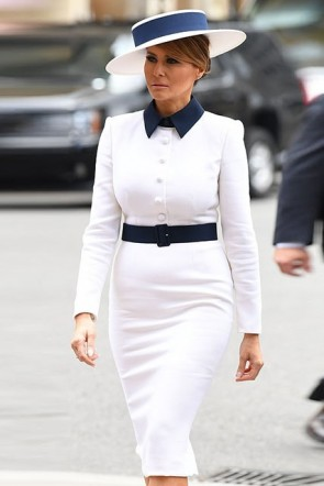 Melania Trump White Belt Collar Long Sleeves Dress