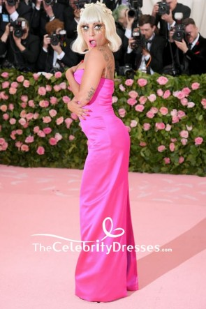 Lady Gaga Satin Hot Pink Column Spaghetti Straps Formal Dress 2019 Met Gala TCD8401