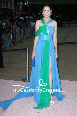 Michelle Monaghan Blue And Green Chiffon Evening Dress New York City Ballet's 2017 Fall Fashion Gala Red Carpet Gown TCD7541