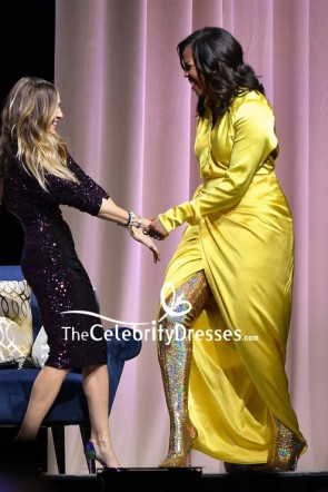Michelle Obama Yellow V-neck Slip Dress With Sleeves Discussing 'Becoming' TCD8214