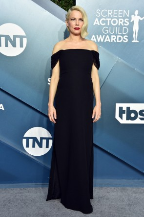 Michelle Williams Black Off-the-shoulder Formal Dress 2020 SAG Awards