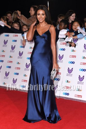 Michelle Keegan Navy Spaghetti Straps Evening Prom Gown Pride Of Britain Awards 2016 6