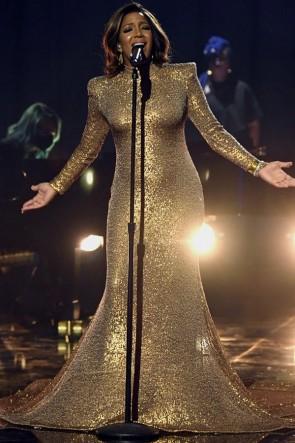 Mickey Guyton Gold Sequined Mermaid Dress 2021 Grammys