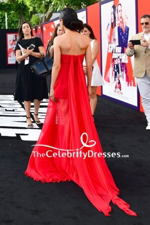 Mila Kunis Red Strapless Empire Prom Dress premiere of The Spy Who Dumped Me TCD7955