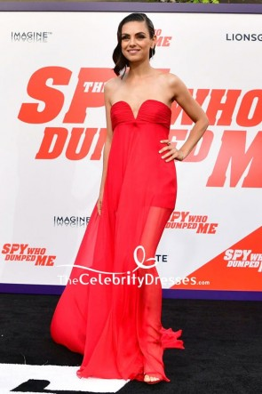 Mila Kunis Red Strapless Empire Prom Dress premiere of The Spy Who Dumped Me