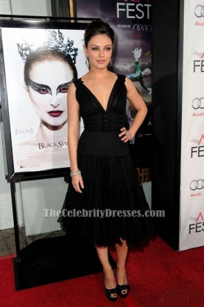 Mila Kunis Black V-Neck A-Line Party Cocktail Dress