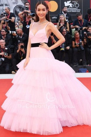 Min Pechaya Wattanamontri Pink Ruffled Gown Venice Film Festival 2019