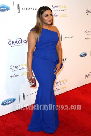Mindy Kaling Blue One Shoulder Evening Prom Dress 41st Annual Gracie Awards Gala TCD6758