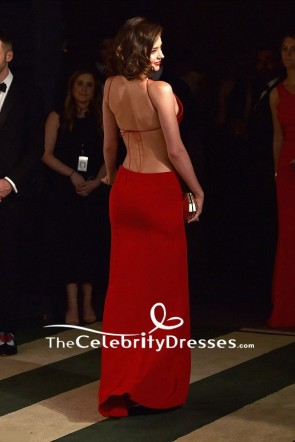 Miranda Kerr Red Plunging Cut Out Evening Dress 2016 Vanity Fair Oscars after Party TCD7625