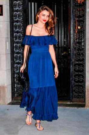 Miranda Kerr Blue Long Off-the-Shoulder Prom Evening Party Dresses TCD6840