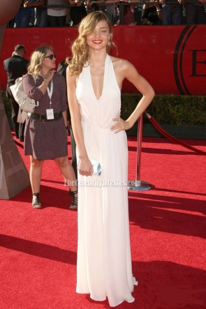 Miranda Kerr White Halter Prom Dress 2009 ESPY Awards Red Carpet Celebrity Dresses