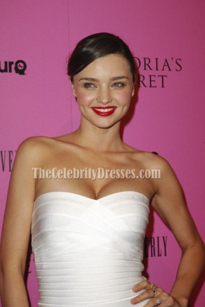 Miranda Kerr White Strapless Bandage Dress Cocktail Party Dresses