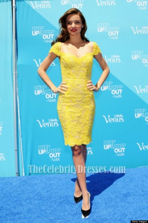 Miranda Kerr Yellow Short Lace Cocktail Party Dresses