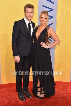 Miranda Lambert Black Deep V-neck Lace Evening Dress  50th annual CMA Awards TCD6937