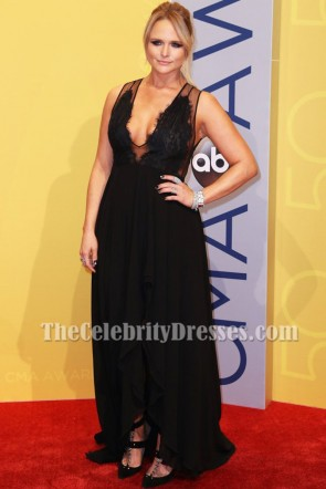 Miranda Lambert Black Deep V-neck Lace Evening Dress  50th annual CMA Awards