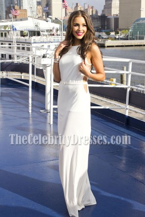 Miss Universe Olivia Culpo White Cut Out Prom Gown 21st Birthday 1