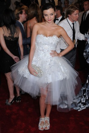 Miranda Kerr Short White Prom Dress Cocktail Dresses MET Ball 2011
