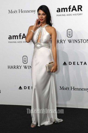 Moran Atias Silver Halter Backless Fit Form Long Evening Dress AmfAR 2016 TCD7401