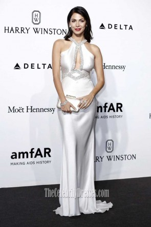 Moran Atias Silver Halter Long Evening Dress AmfAR 2016