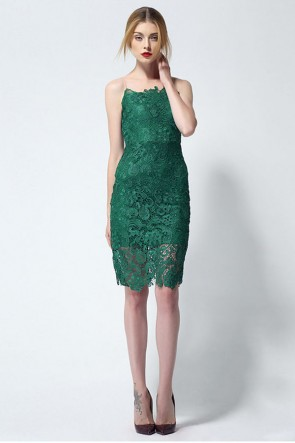 Sheath Column Sleeveless Lace Cocktail Party Dresses TCDMU0002
