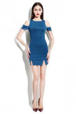 Short Mini Blue Off-the-Shoulder Party Homecoming Dress TCDMU0018