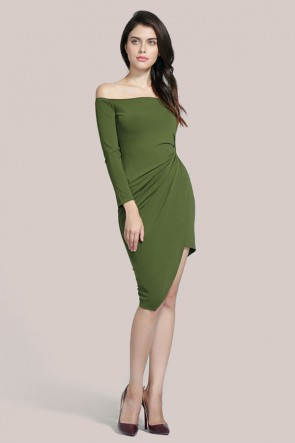 Green Off-the-Shoulder Cocktail Party Dress TCDMU0019