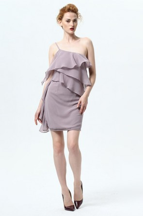 Short Mini One Shoulder Chiffon Party Dresses TCDMU0024
