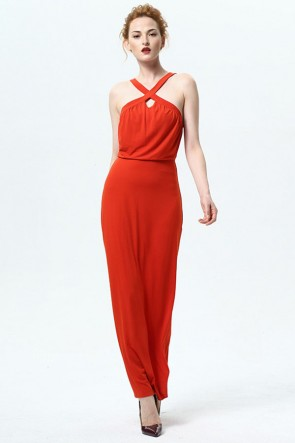 Orange Red Long Maxi Party Dress TCDMU0025