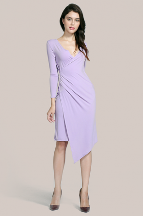 Asymmetric Lilac Long Sleeve Cocktail Dresses TCDMU0027