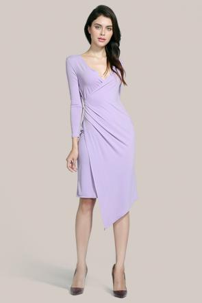Asymmetric Lilac Long Sleeve Cocktail Dresses TCDMU0027