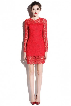 Short Mini Long Sleeve Lace Party Dress  TCDMU0031