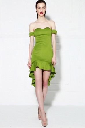 Green Off-the-Shoulder Sweetheart Party Cocktail Dress TCDMU0032