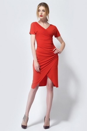 Red Knee Length V-Neck Cocktail Party Dresses TCDMU0041