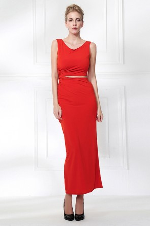 Orange Red Sleeveless Cut Out Evening Party Dress TCDMU0054