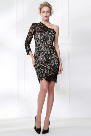 Short Mini Black Lace One Sleeve Party Cocktail Dress TCDMU0057