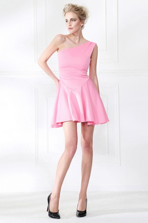 Chic Pink One Shoulder Party Homecoming Dresses TCDMU0058