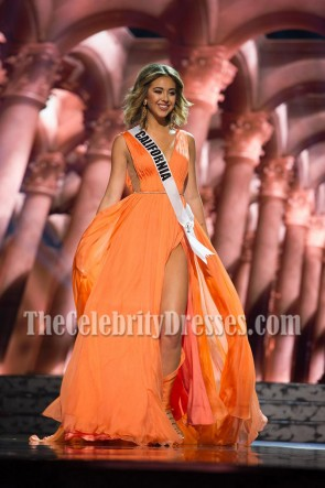 Nadia Mejia Orange High Slit Chiffon Evening Dress 2016 MISS USA CONTESTANTS 4
