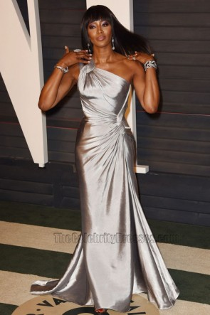 Naomi Campbell 2016 Vanity Fair Oscar Party Silver One-Shoulder Evening Prom Gown  1