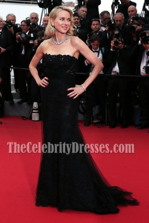 Naomi Watts Black Strapless Formal Dress Cannes 2015 Red Carpet Gown 2