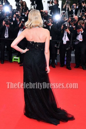 Naomi Watts Black Strapless Formal Dress Cannes 2015 Red Carpet Gown TCD6935