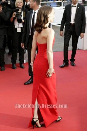 Natalie Portman Red Strapless Formal Dress Cannes Film Festival 2015 Red Carpet TCD6071