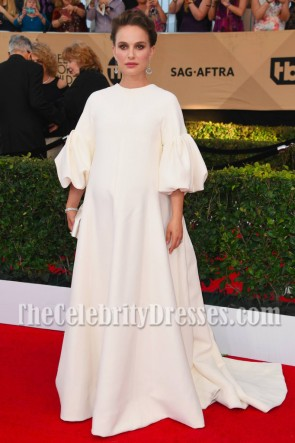 Natalie Portman White Long Sleeves Ball Gown 2017 SAG Awards Evening Dress