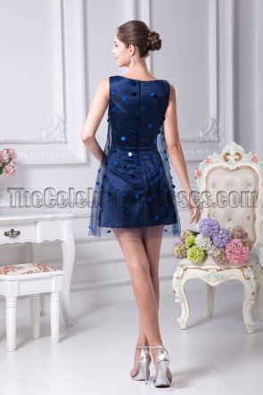 Navy Blue Mini Tulle Sequined Party Homecoming Dresses