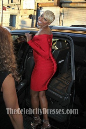 Nene Leakes Red Long Sleeve Bandage Cocktail Dress Party Dresses