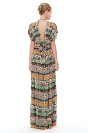 New Fashion Chiffon Print Maxi Dress
