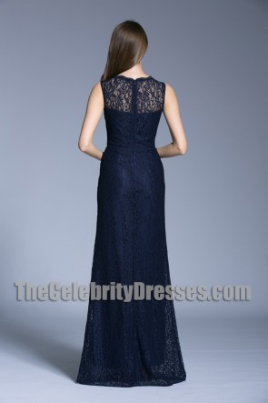 New Navy Blue Long Evening Prom Gown Lace Column Wedding Dress Scoop Evening Dress TCDBF5013