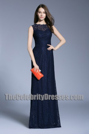 Navy Blue Long Evening Prom Gown Lace Column Wedding Dress Scoop Evening Dress 1