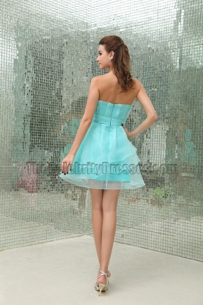 Short Strapless Blue Bridesmaid Homecoming Party Dresses